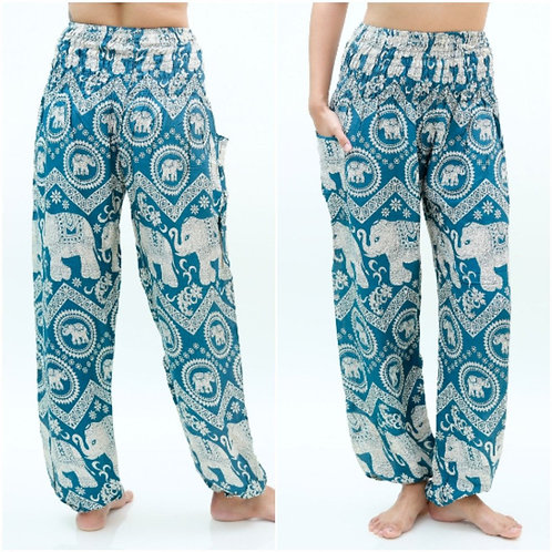 Teal ELEPHANT Pants Women Boho Pants Hippie Pants Yoga