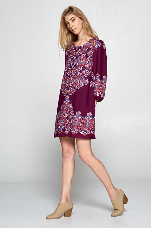 Plum Paisley Print Dress with Back Keyhole