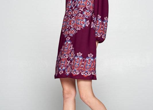 Plum Paisley Print Dress with Back Keyhole