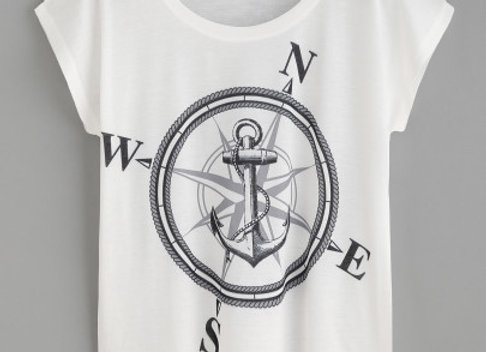 Graphic Tee: Compass And Anchor