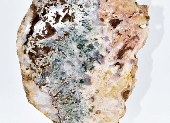 Pink Amethyst Slab with Green Jasper & Quartz Display Piece on Metal