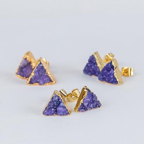 Purple triangle druzy earrings