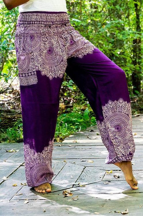 Purple FLORAL Women Boho Pants Hippie Pants Yoga Pants