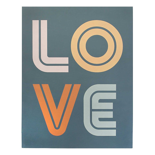 Multi Color Retro LOVE Hand-Crafted Print