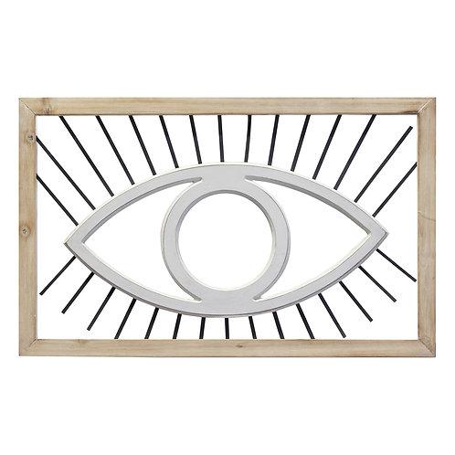 Sacred Eye Natural White Wood Wall Decor