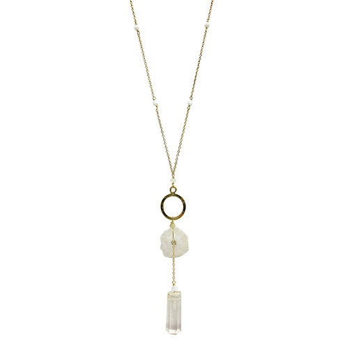 Solar Quartz + Crystal Y Necklace