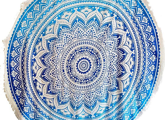 Blue Skies Ombre Round Mandala Tapestry