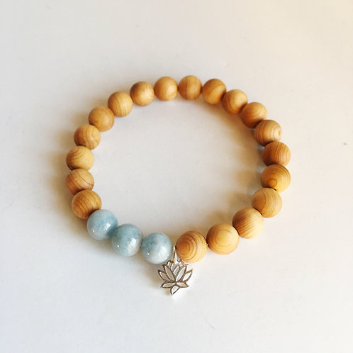 Aquamarine & Sandalwood Lotus Charm Bracelet