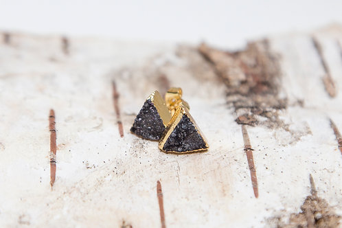 Black triangle druzy earrings