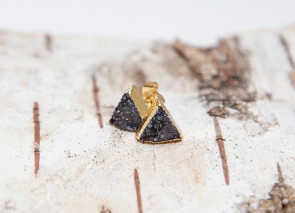 Black triangle druzy earrings