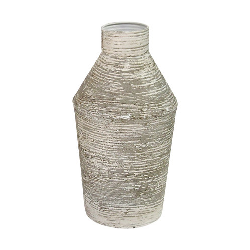 Rustic White Grey Metal Table Vase