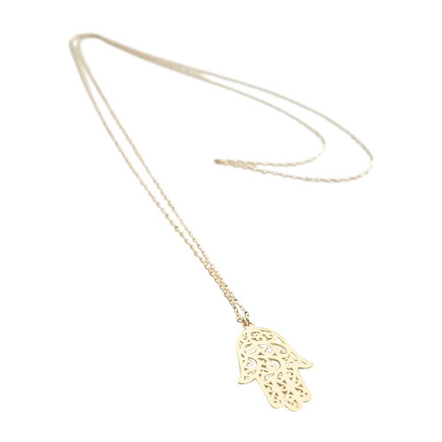Gold filled chain necklace w lg hamsa