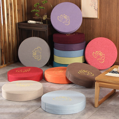Round Linen Seat Meditation Cushion