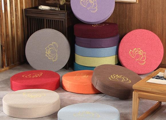 Round Linen Seat Cushion Tatami Balcony Bay Window Padded Meditation