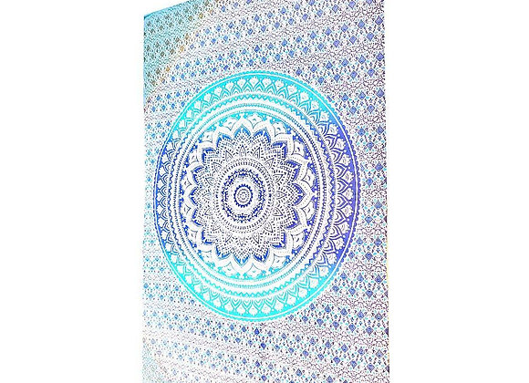 Blue Ombre Art Pattern Cotton Tapestry Wall Hanging