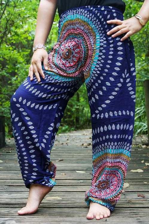 Blue SWIRL Women Boho Pants Hippie Pants Yoga Pants