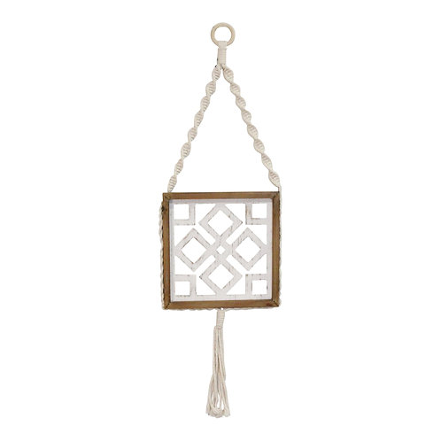 """10.63"""" X 1"""" X 36.22"""" White Natural Wood Mdf Rope Wall Art"""