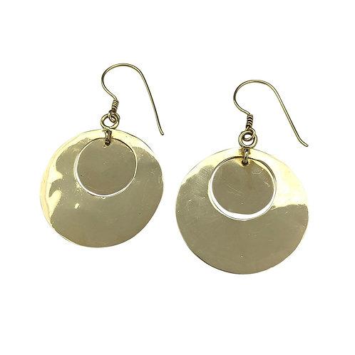 Hammered Circle Bombshell Earrings