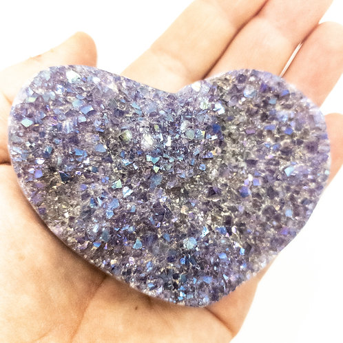 Medium Polished Amethyst Druzy Heart with Angel Aura