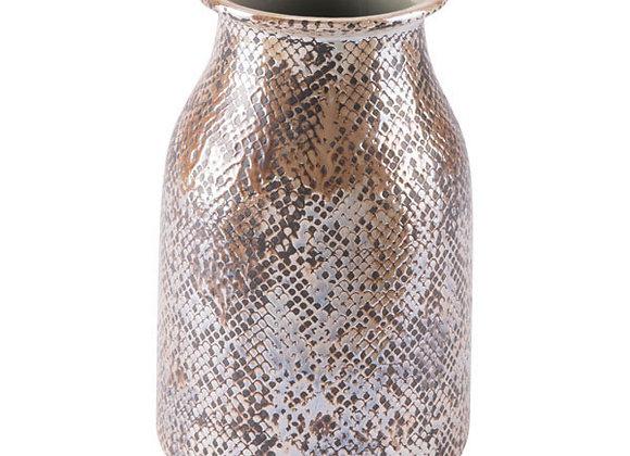 Short Brown (vegan) Snake Skin Vase