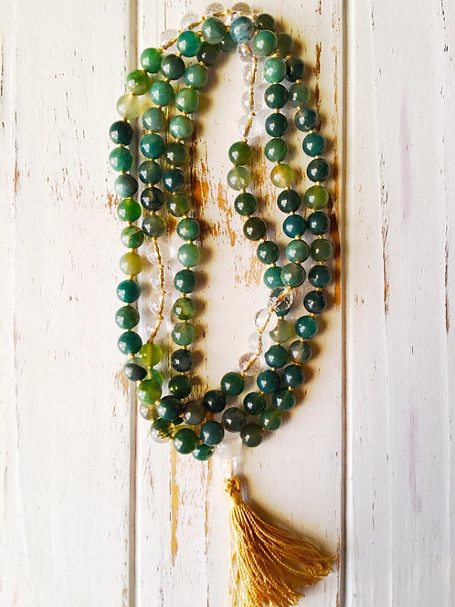 Moss Agate & Crystal Quartz 108 Mala Bead Necklace