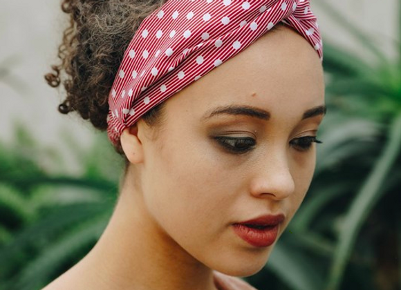 Red Polka Dot & Stripe Twist Headband