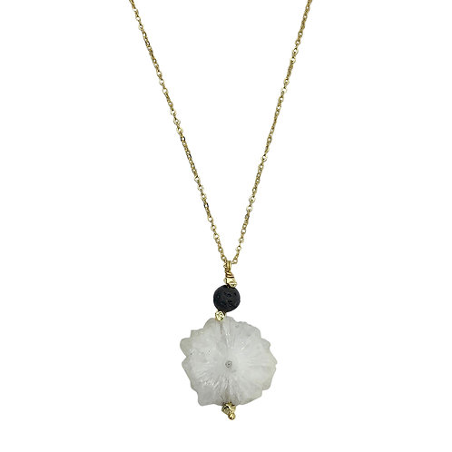Solar Quartz Lava Necklace
