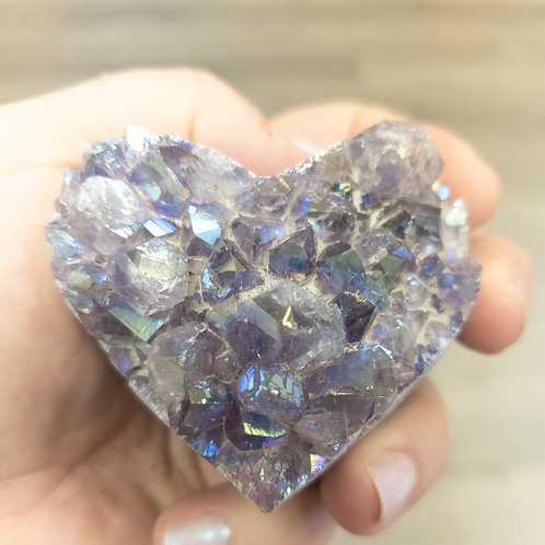 Angel Aura Amethyst Druzy Heart-Medium