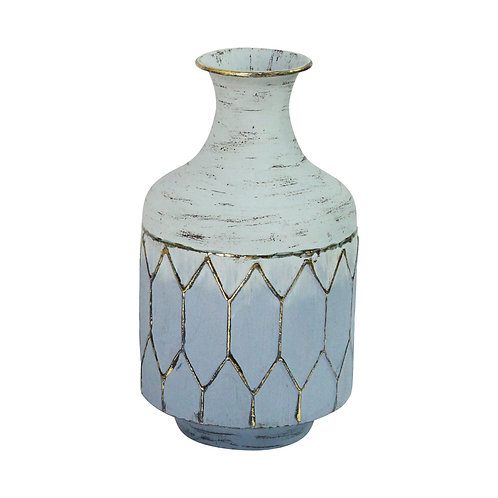 Blue Gold Metal Decorative Vase