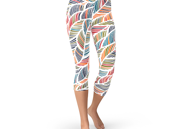 Colorful Feather Fern Capri Leggings