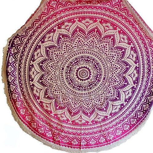Pink Ombre Round Mandala Tapestry