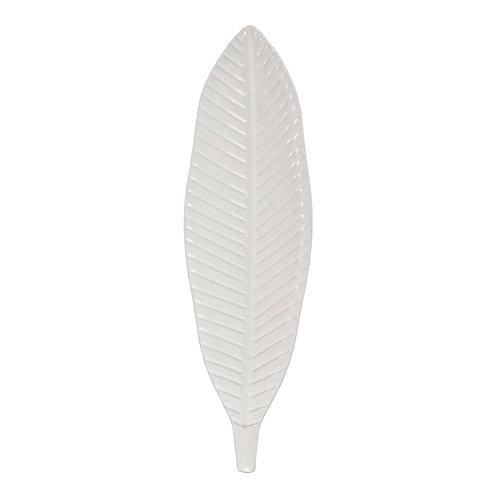 White Painted Metal Leaf Wall Art