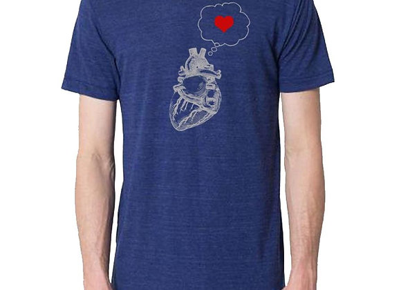 Mens heart thinking heart t-shirt, men's cut
