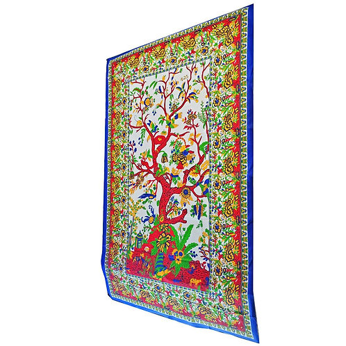 White Tree of Life Wall Decor with Birds Twin Size Tapestry