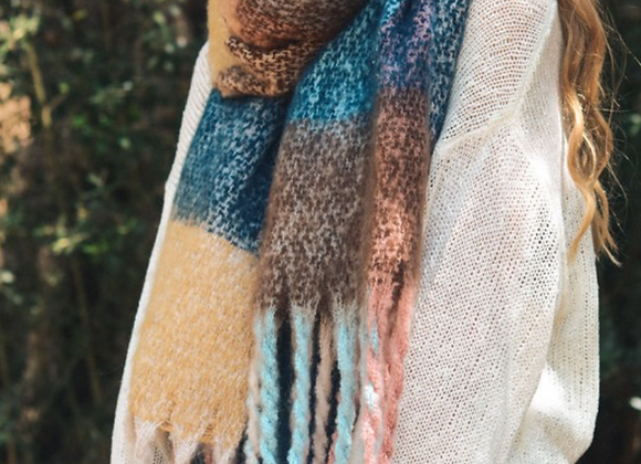 Brown Mixed Plaid Scarf