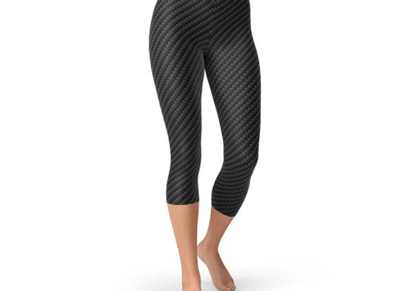 Black Carbon Fiber Capri Leggings