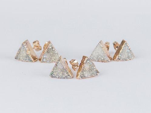 White triangle druzy earrings