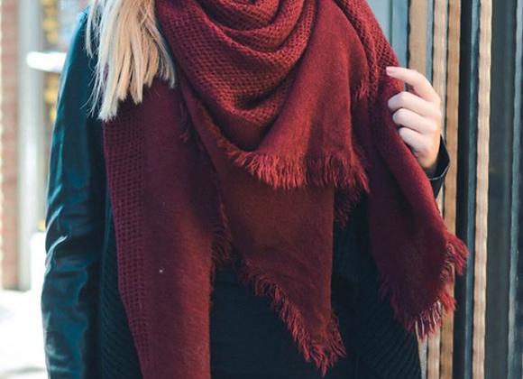 Warm Burgundy Open Weave Square Scarf / Blanket