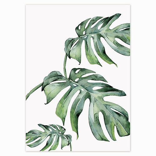 Scandinavian Style Tropical Plants Poster Green Leaves Decorative