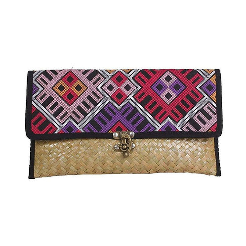 Embroidered Rattan Hmong Clutch