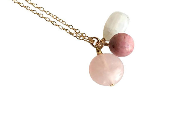 Moonstone, Rhodonite and Rose Quartz Gold Filled Necklace