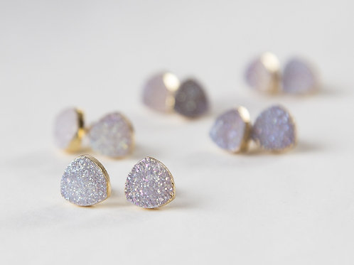 Small white druzy earrings, gold plated earrings