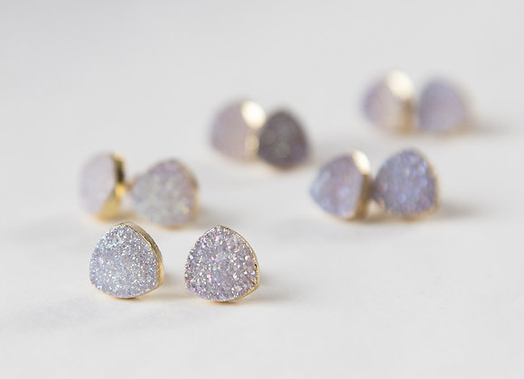 Small white druzy earrings, gold plated earrings