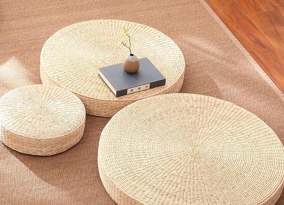 Handmade Straw Futon Meditation Yoga Padded Cushion Kneeling Japanese
