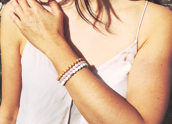 Rose Quartz, Sandalwood & White Howlite Gemstone Bracelet Set