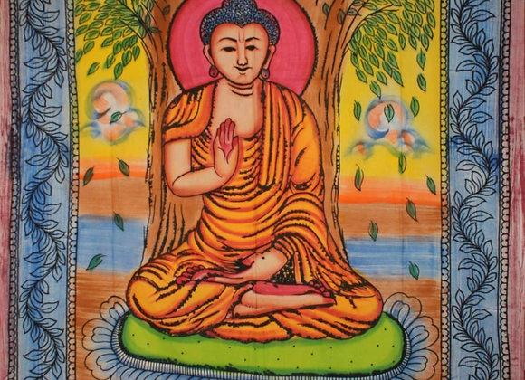 Buddha Meditating Under Bodhi Tree Tapestry