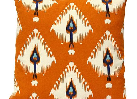 Deep Orange Accent Pillow w/ Feather  Deco Art
