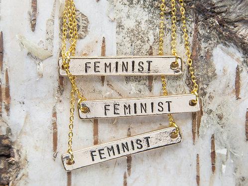 Feminist necklace, Feminist AF necklace, hand