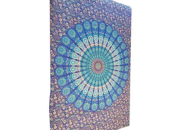 Blue Henna Art Peacock Mandala Tapestry