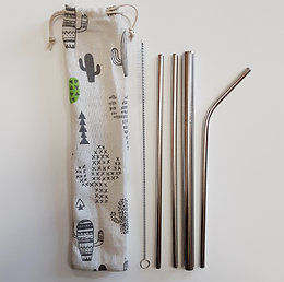 Reusable Stainless Steel Straw Set With Drawstring Pouch